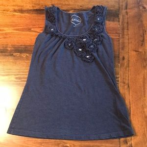 Navy tank top with jeweled flowers